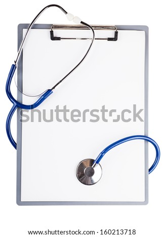 Blank sheet and stethoscope over white background - stock photo