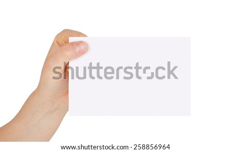 blank sheet of paper in the hands of a woman isolated on white background