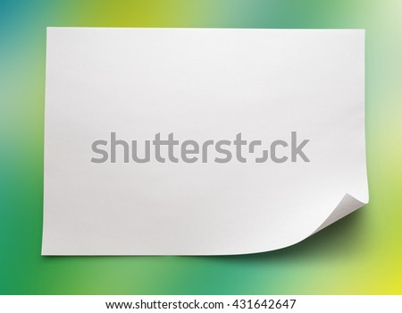 Blank sheet of paper on colorful background