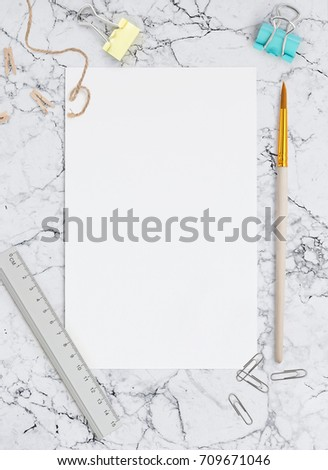 Blank Sheet Paper On Marble Background Stock Photo