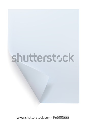 Blank sheet of paper. Paper page with curl.
