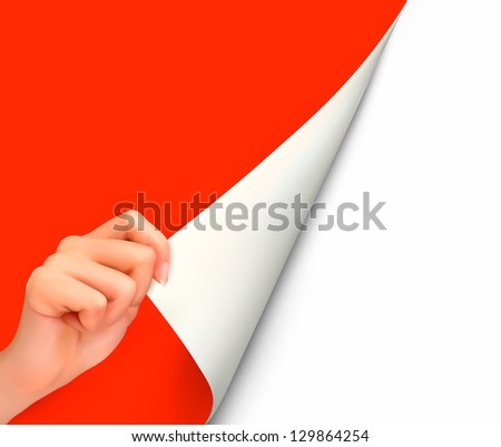 Blank sheet of paper with hand.  Raster version of vector - stock photo