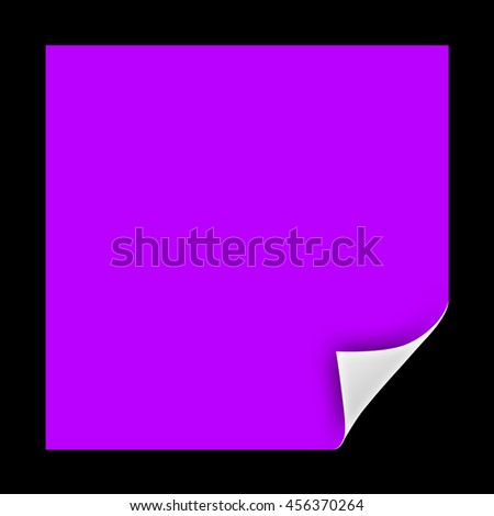 Blank sheet of paper with page curl and shadow isolated on black background. 3d render - stock photo