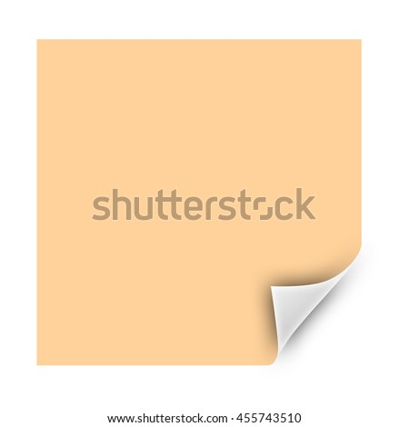 Blank sheet of paper with page curl and shadow isolated on white background. 3d render - stock photo