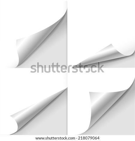blank sheet of paper with page curl set over white - stock photo