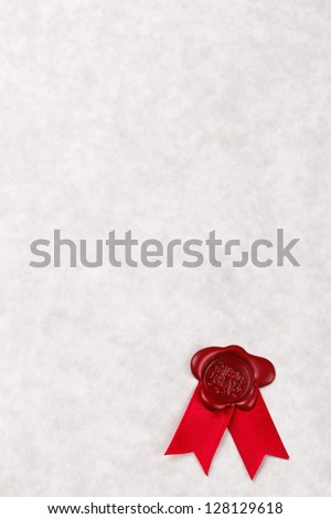 Blank sheet of parchment paper with a red wax seal and ribbon, add your own text to make a certificate, award, letter, diploma or other official document. - stock photo