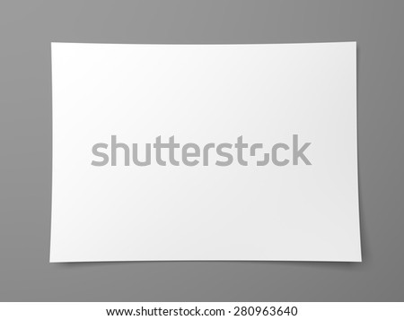 Blank sheet of white paper on gray background