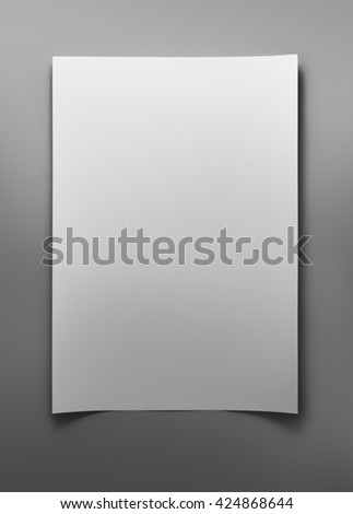 Blank sheet of white paper on gray background with clipping path - stock photo