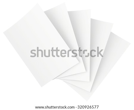 blank sheets of paper isolated on white background.