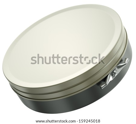 Blank shoe polish box isolated on a white background. 3D render. - stock photo