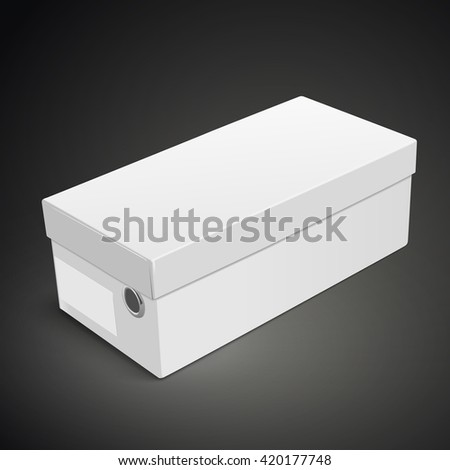 blank shoes box with label isolated on black background. 3D illustration.