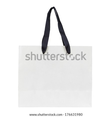 Blank shopping bag isolated on a white background - stock photo