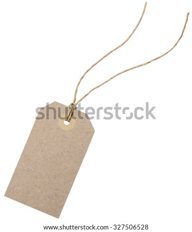 Blank shopping tag template. Isolated on white with clipping paths - stock photo