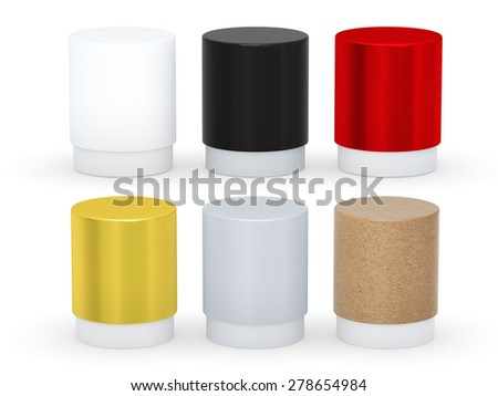 Blank short cylindrical box packaging  with variety material set, clipping path included.  - stock photo