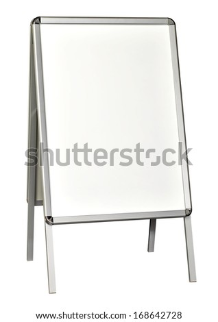 Blank sidewalk sign board including clipping path - stock photo
