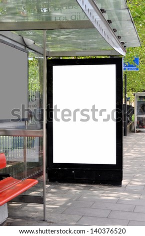 Blank sign at bus stop for your advertisement or design. - stock photo