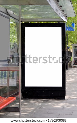 Blank sign at bus stop for your advertisement or graphic design. - stock photo