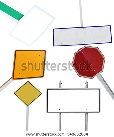 blank sign collections on white - stock photo