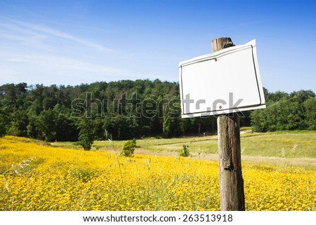 Blank sign indicating in the countryside with copy space - stock photo