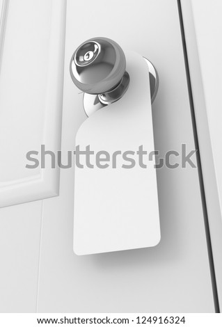 Blank sign on the door handle - stock photo