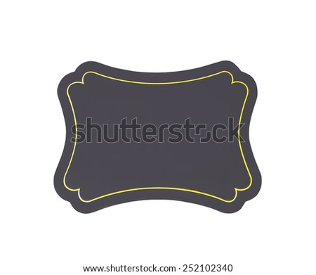 Blank sign with golden border isolated on white with clipping path