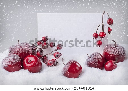 Blank sign with red christmas decorations and snow - stock photo
