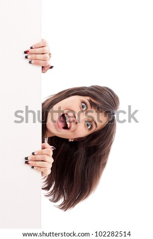 Blank sign. Woman surprised looking at white billboard. Isolated on white background. - stock photo