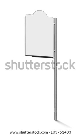 blank signboard isolated on white background
