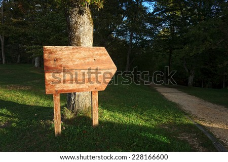 blank signboard near a path in the forest - stock photo