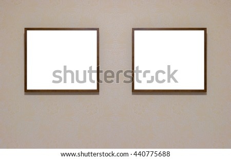Blank signboard template for text on wooden frame on the wall.