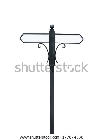 Blank signpost isolated - stock photo