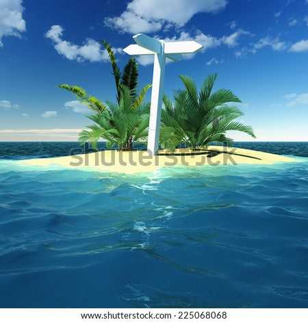 Blank signpost on a tropical island - stock photo