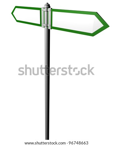 Blank signpost,with 2 arrows  Precise clipping path included for easy background change