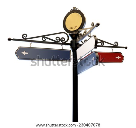 Blank signs pointing in opposite directions representing a shopping direction sign, Photo isolated on white background. This has clipping path.