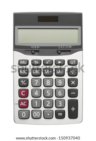 blank silver calculator on white background, included clipping path - stock photo
