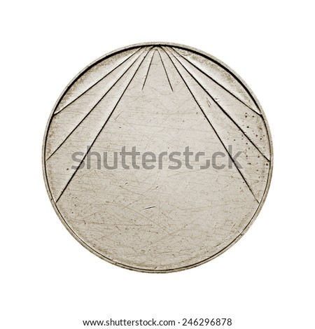 Blank silver coin with stripes isolated on white background - stock photo