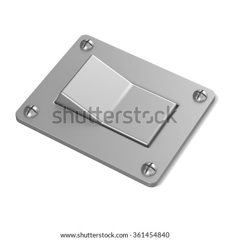 Blank, silver, power switch button. Angled view. 3D render illustration isolated on white background - stock photo