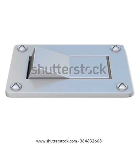 Blank, silver, power switch button. Front view. 3D render illustration isolated on white background - stock photo