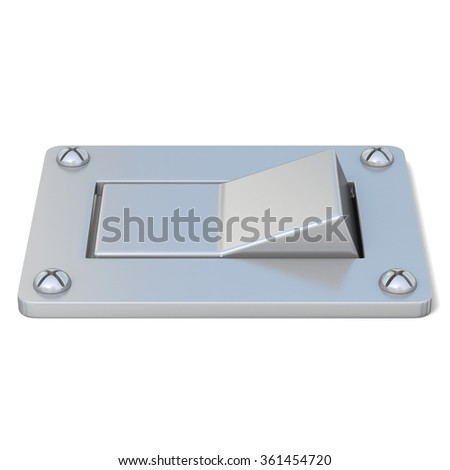 Blank, silver, power switch button. Side view. 3D render illustration isolated on white background - stock photo