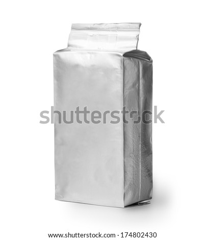blank silver product packaging on white background. With clipping path - stock photo