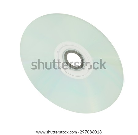 Blank Silver Surface CD or DVD Compact Disc Isolated on White Background. - stock photo