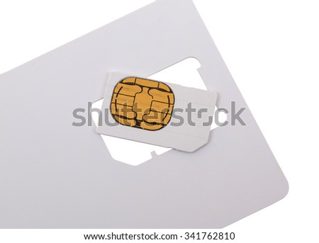 Blank sim card, isolated on a white background