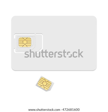 Blank sim card template. Realistic icon isolated on white background.