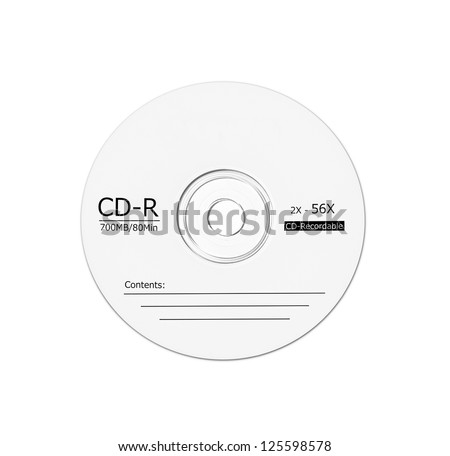 Blank single CD isolated on white. - stock photo