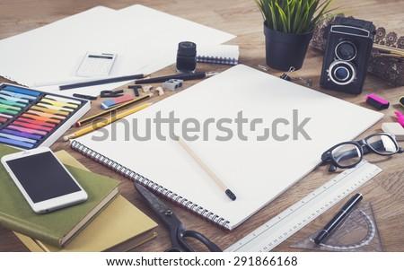 Blank sketchbook mockup - stock photo