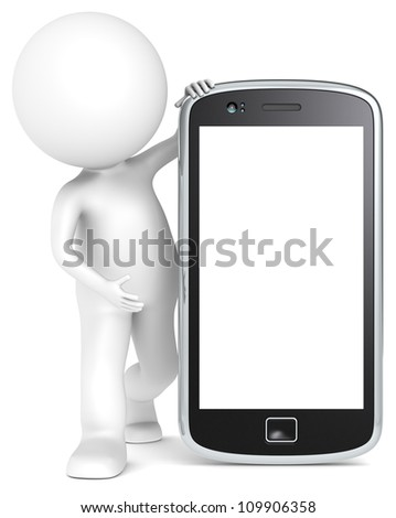 Blank Smart Phone. 3D little human character holding a Smartphone. Blank for Copy Space. People series. - stock photo