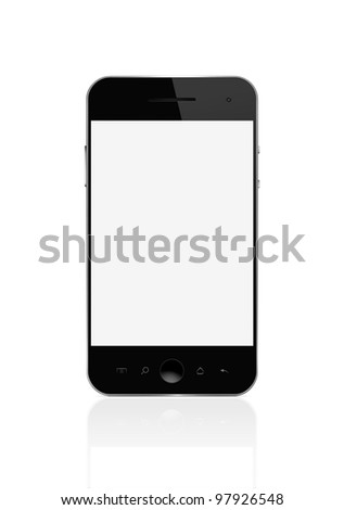 Blank smart phone isolated on white with clipping path for the screen - stock photo