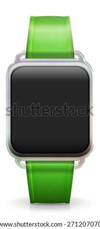 Blank Smart Watch with rubber / plastic green Strap - stock photo