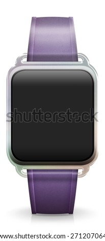 Blank Smart Watch with rubber / plastic purple Strap - stock photo