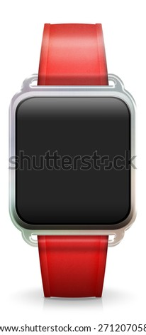 Blank Smart Watch with rubber / plastic red Strap - stock photo